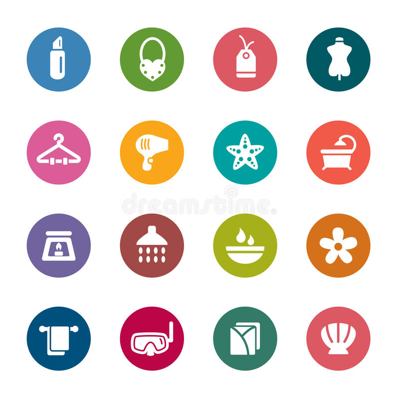 Beauty and Cosmetic Color Icons royalty free stock images