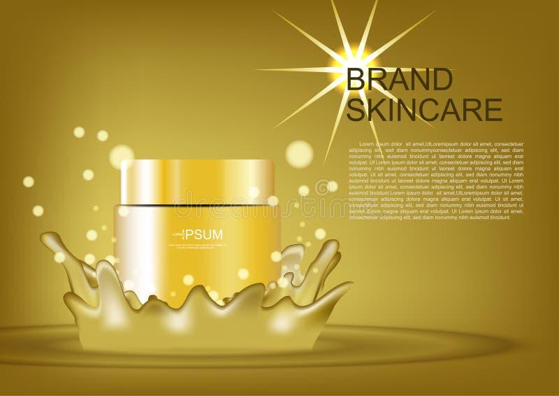 Beauty cosmetic cream on golden splash vector cosmetic template.  vector illustration