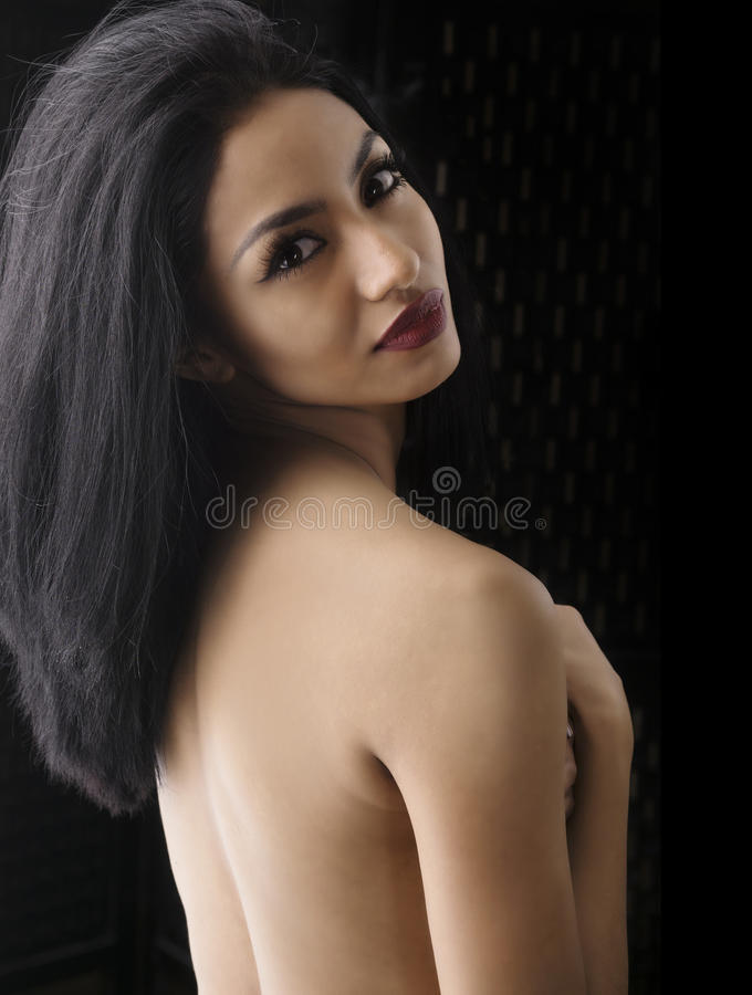 Beauty cosmetic hair and makeup portrait royalty free stock photography