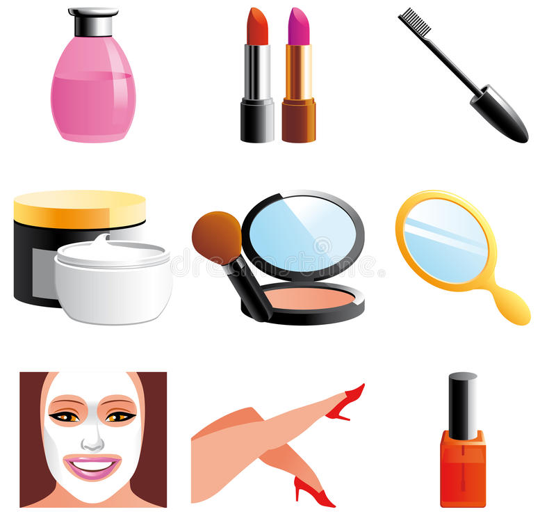 Download Beauty and cosmetic icons stock illustration. Illustration of isolated - 18136519