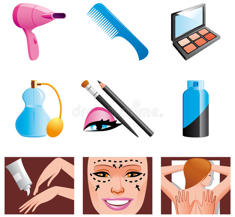 Beauty and cosmetic icons. Set of Beauty and cosmetic icons