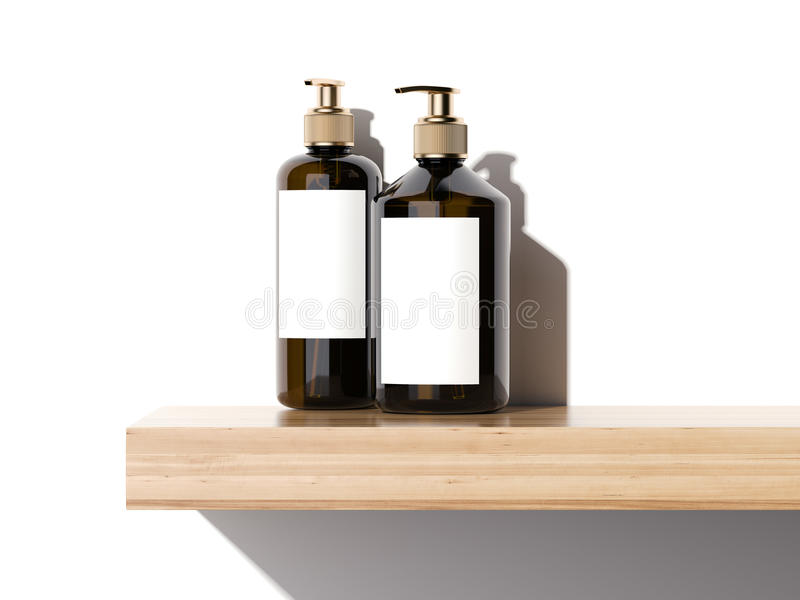 Beauty cosmetic plastic containers on a wooden shelf . 3d rendering royalty free illustration