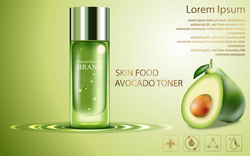 Beauty cosmetic product poster, fruit avocado cream ads with silver bottle package skin care cream on sparkling green shiny backgr vector illustration