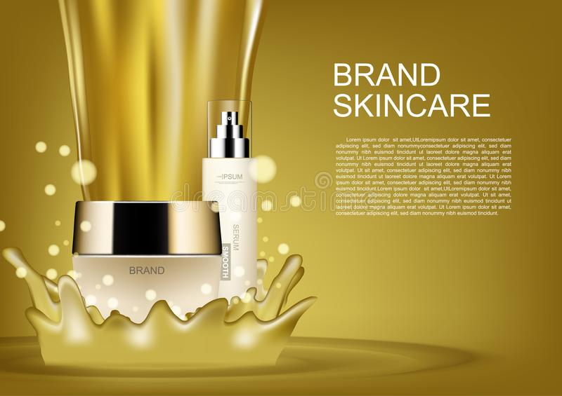 Beauty cosmetic set with pouring gold vector cosmetic ads royalty free illustration