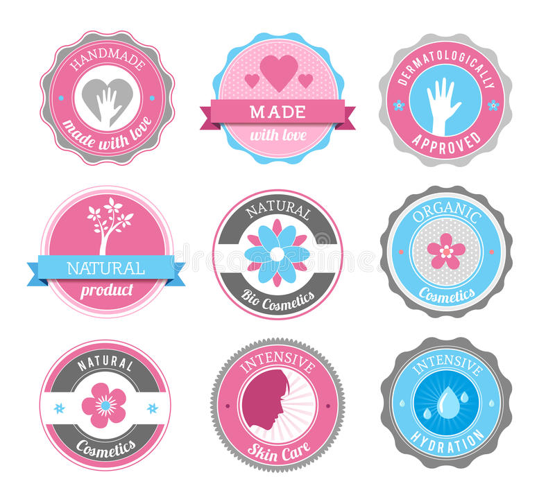 Beauty And Cosmetics Badges stock illustration