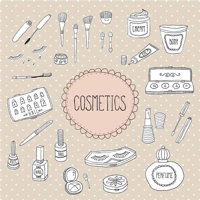 Beauty and cosmetics icons doodles stock illustration