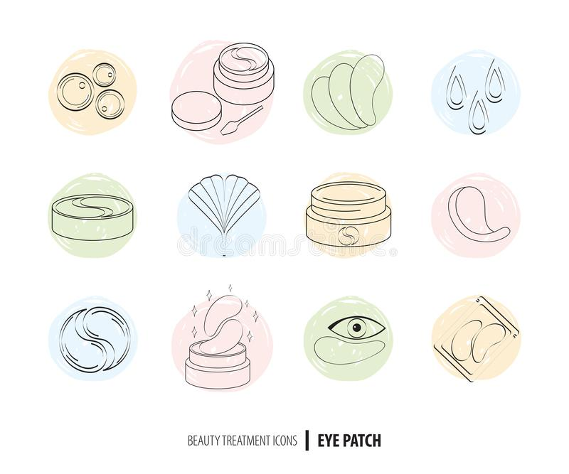 Beauty cosmetics line art icon set. Collagen eye patches in . Korean cosmetics. Icons patch for eyes, collagen, Ginkgo. Biloba, packaging with patch. Facial royalty free illustration