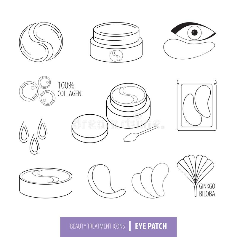 Beauty cosmetics line art icon set. Collagen eye patches in . Korean cosmetics. Icons patch for eyes, collagen, Ginkgo. Biloba, packaging with patch. Isolated stock illustration