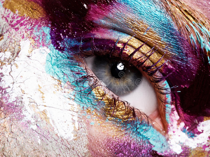 Beauty, cosmetics and makeup. Bright creative make-up stock photography