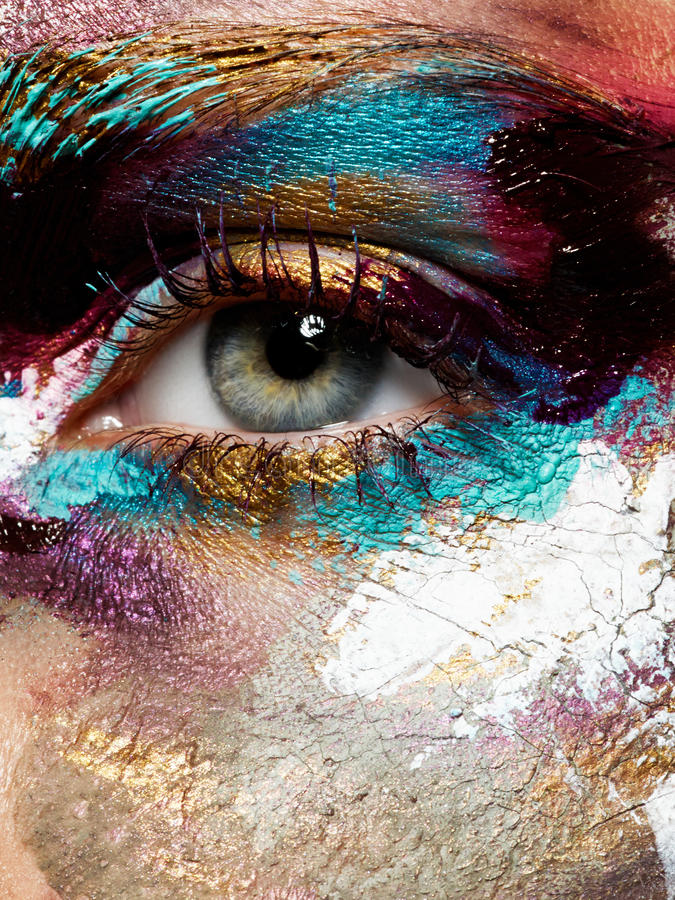 Beauty, cosmetics and makeup. Bright creative make-up royalty free stock photo