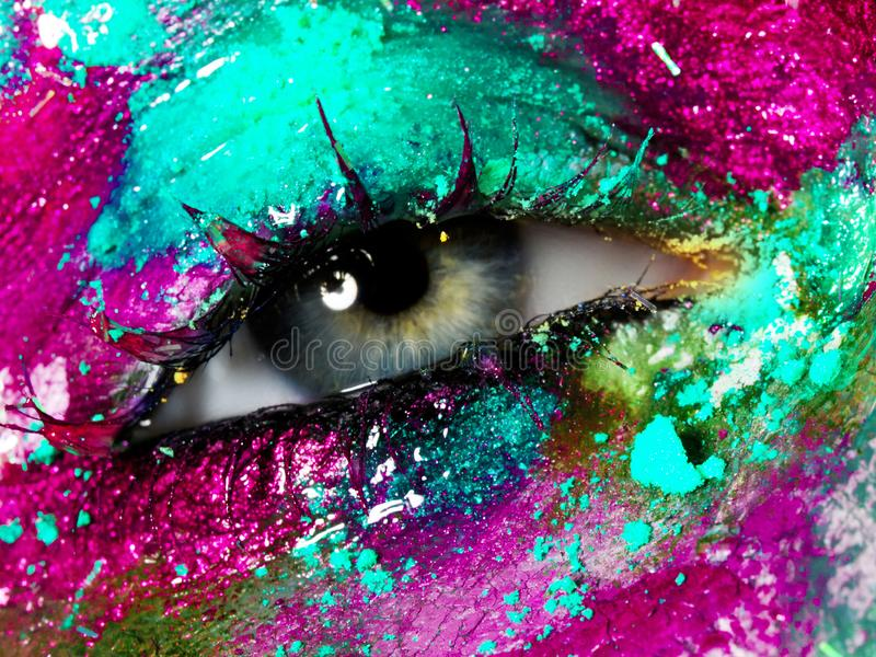 Beauty, cosmetics and makeup. Bright creative make-up royalty free stock images