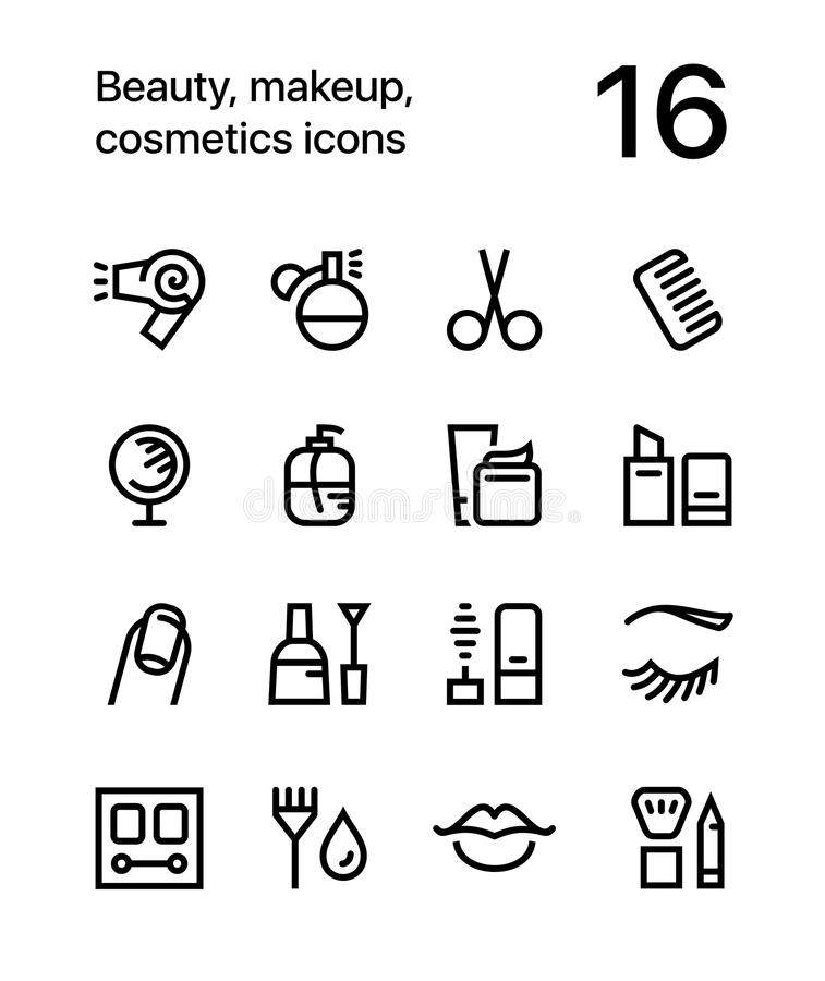 Beauty, cosmetics, makeup icons for web and mobile design pack 1 royalty free stock photography