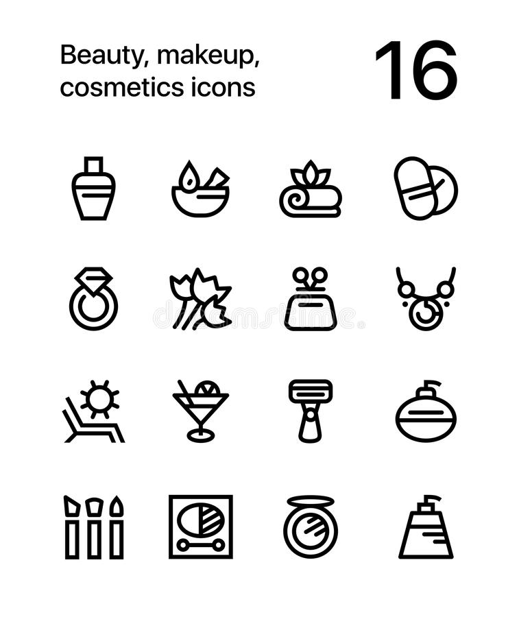 Beauty, cosmetics, makeup icons for web and mobile design pack 3. 16 line black and white vector icons