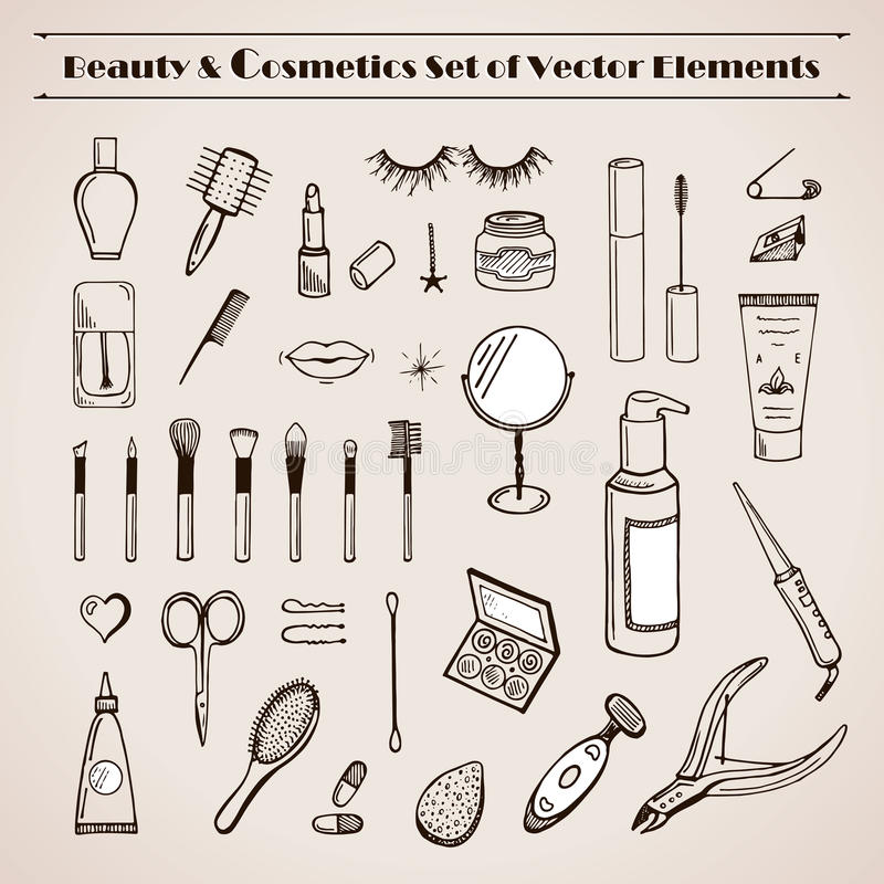 Beauty and cosmetics vector doodles icons royalty free illustration
