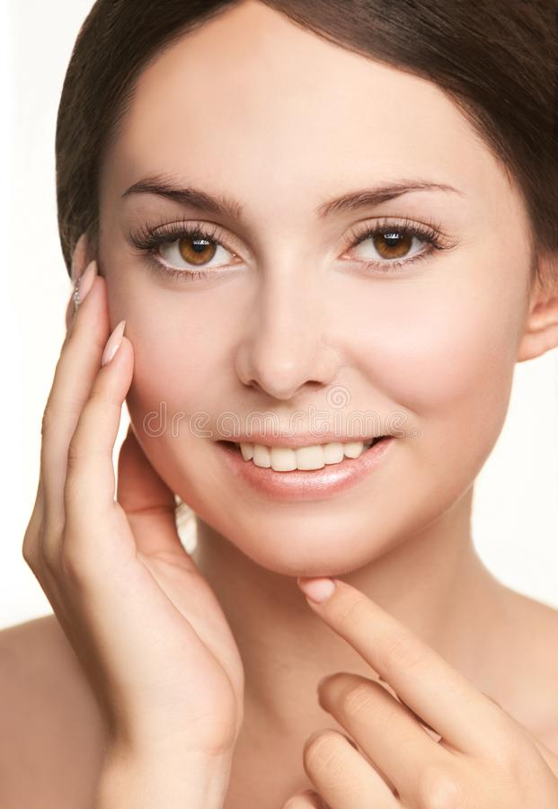 Beauty cosmetology face. Girl facial portrait. Hydra cream and injection. Dermatology female model. Young woman royalty free stock image