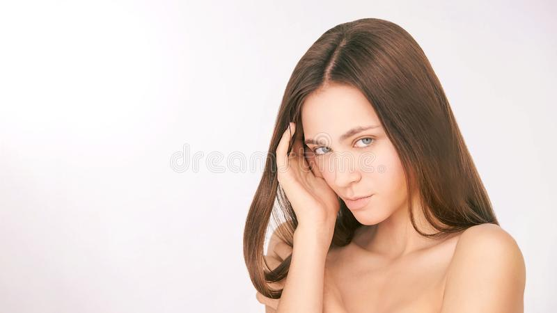 Beauty cosmetology face. Girl facial portrait. Hydra cream and injection. Dermatology female model. Young woman stock photography