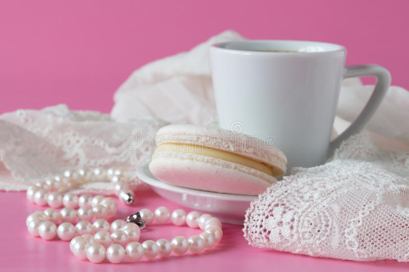 Beauty cup of coffee and macaroon, bride`s morning, cozy mornin royalty free stock images