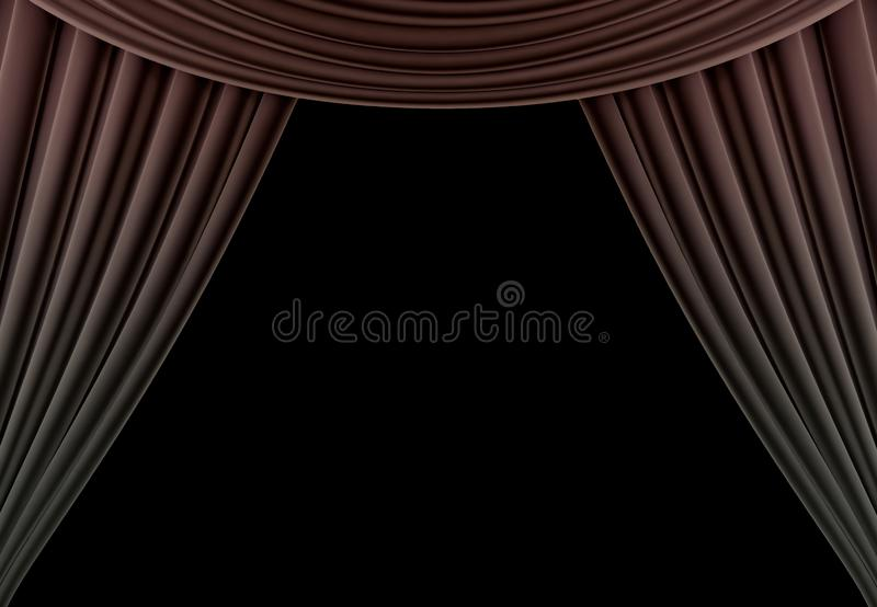 Beauty curtain of a classical theater isolated on black background. 3d render royalty free stock photography