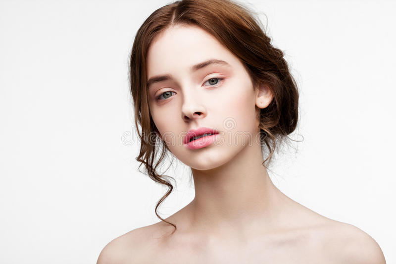Beauty cute fashion model with natural make up royalty free stock photo