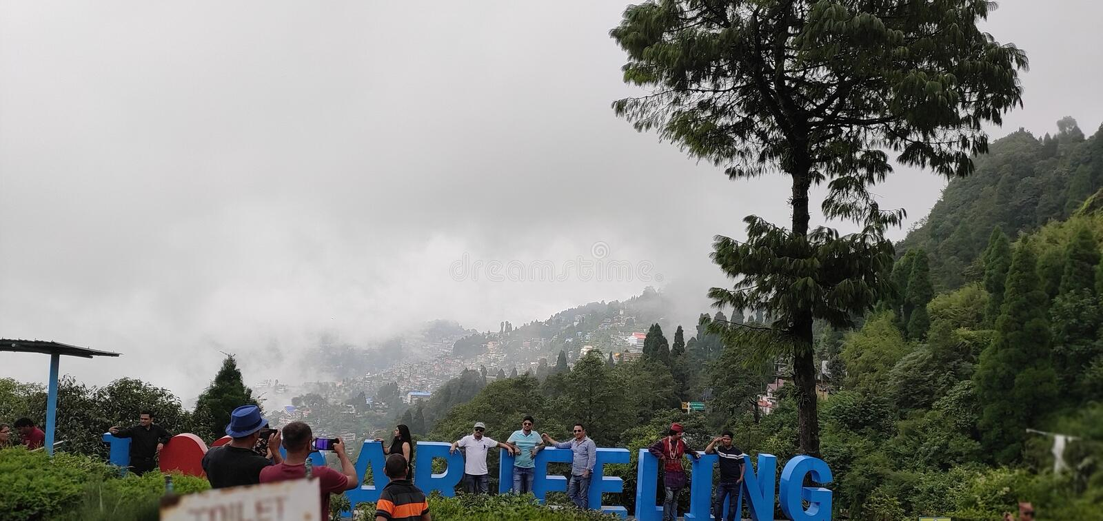 Beauty of Darjeeling in Darjeeling district. This picture has taken by me in Darjeeling. It is a tourists place named Batasia Loop. People are hanging around royalty free stock images