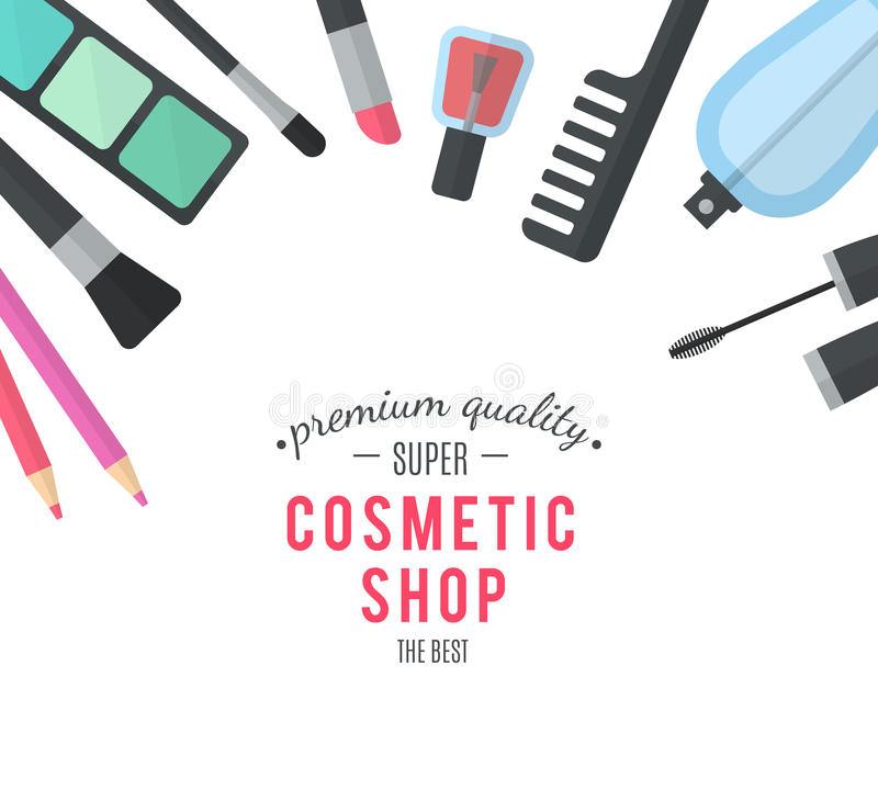 Beauty design. Cosmetic accessories for make-up. Professional products of high quality. Cosmetology and SPA. Vector illustration for promotional booklets stock illustration