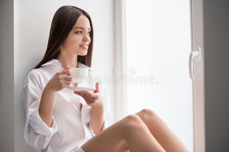 Download Beauty drinking coffee. stock photo. Image of brown, holding - 33529994