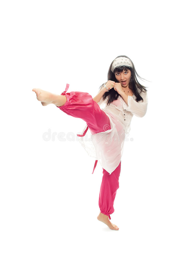 Beauty eastern woman kick foot stock images