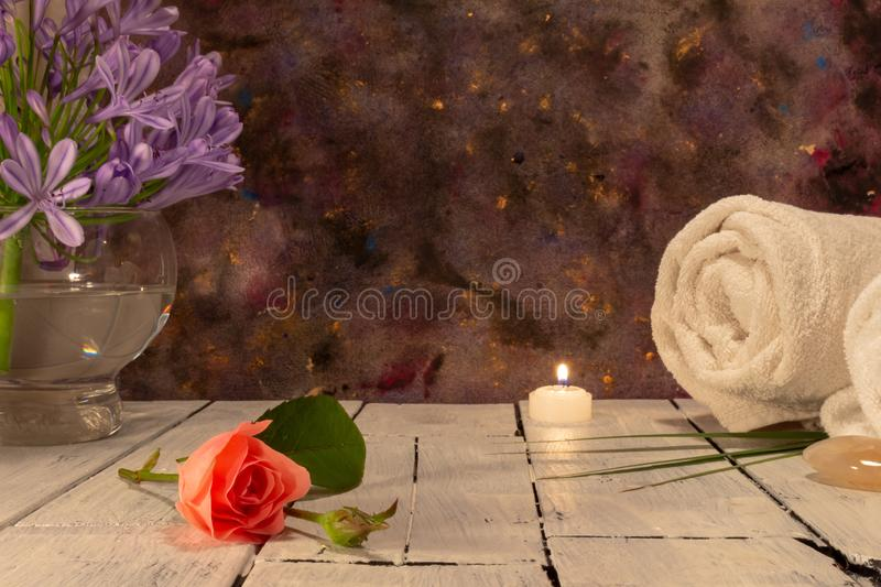 Beauty elements for use in a spa on dark background stock photo