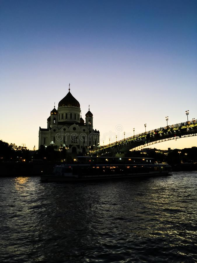 beauty of evening Moscow types from yachts royalty free stock images