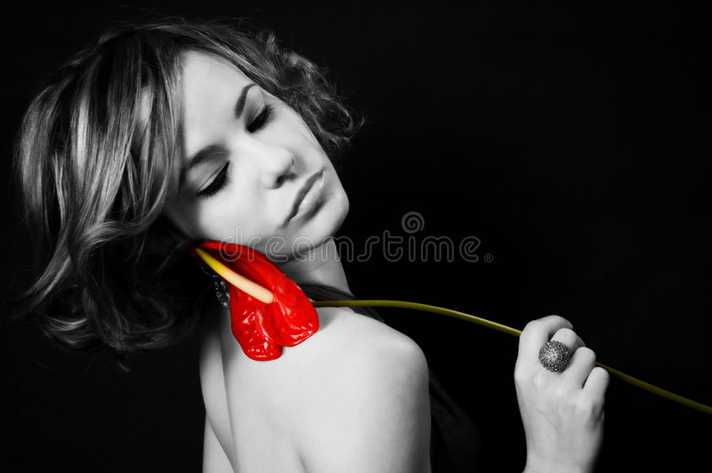 Beauty with exotic flower royalty free stock images