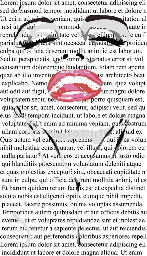 Beauty Face of girl with red lips on white newspaper like mere lin monroe. clip art of a beautiful woman with red lips like mere-l vector illustration
