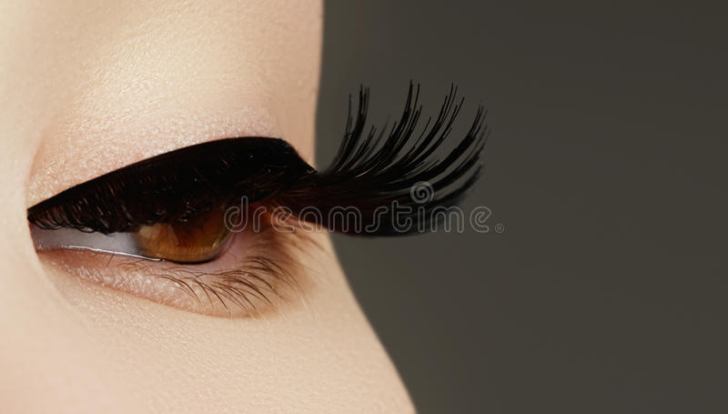 Beauty face makeup. Make up. Eyelashes extensions. Perfect Make- stock photography