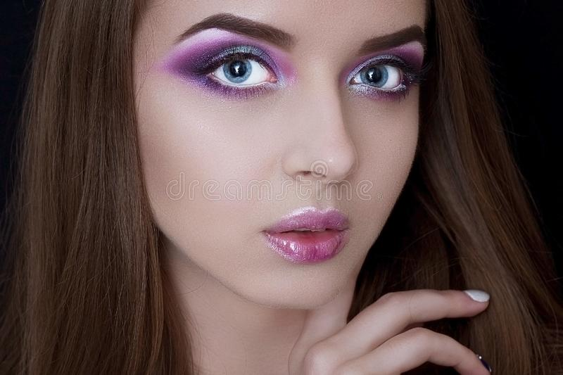 Face model with professional make-up stock images