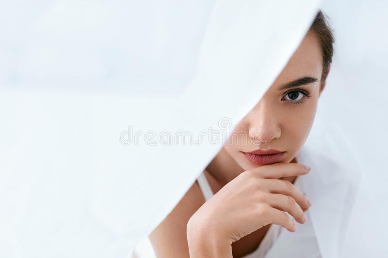 Beauty Face Skin Care. Woman With Beautiful Skin And Makeup royalty free stock photos