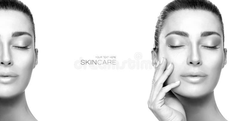 Beauty Face Spa Vrouw Greyscale schoonheidsportret van een sensuele jonge vrouw royalty-vrije stock foto