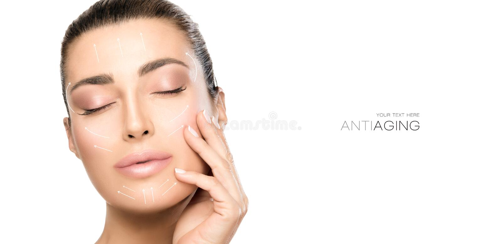 Beauty Face Spa Woman. Surgery and Anti Aging Concept. Anti aging treatment and plastic surgery concept. Beautiful young woman with hand on cheek and eyes closed royalty free stock photos