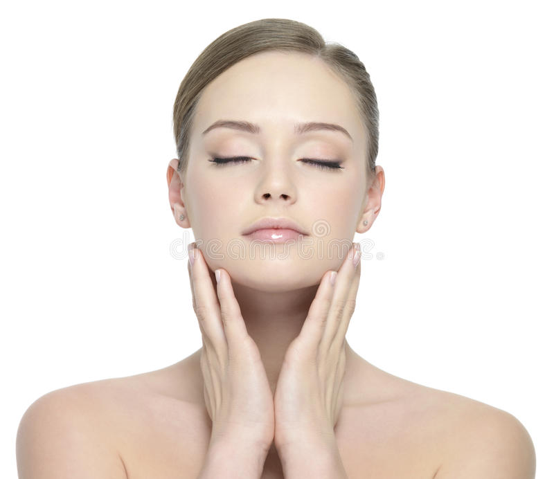 Beauty Face Of Woman With Closed Eyes Stock Photo