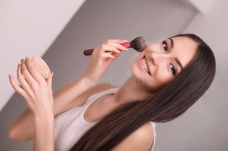 Beauty face of woman with cosmetic cream on face royalty free stock photo