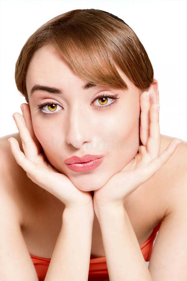 Beauty face of the young beautiful woman stock photography