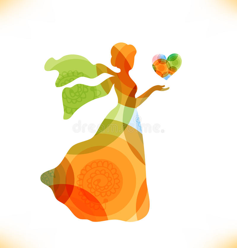Download Beauty Fantasy Woman With Heart Stock Illustration - Illustration of glossy, gift: 34876976
