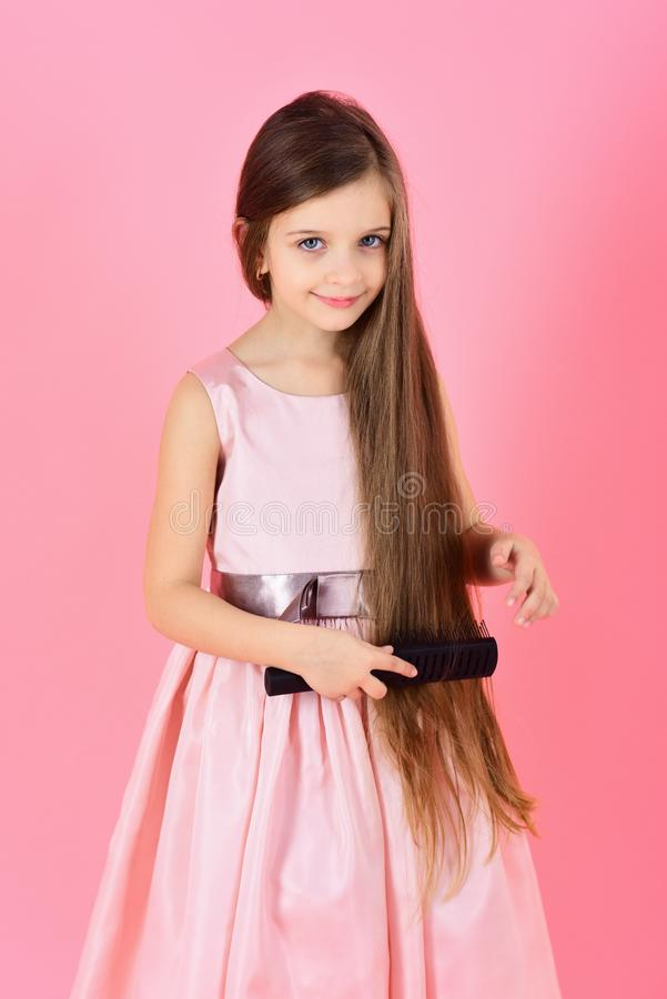 Beauty and fashion, childhood, healthy hair. royalty free stock photography