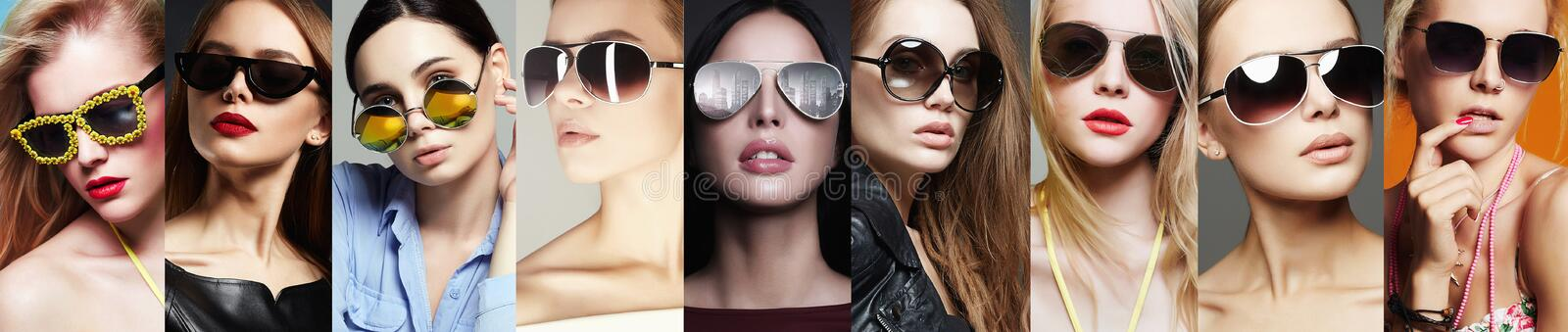 Beauty Fashion collage. Women in Sunglasses. Beauty Fashion collage. Beautiful young Women in Sunglasses. Fashionable Girls in Glasses. Eyewear style royalty free stock photography