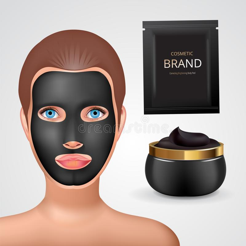 Beauty fashion girl apply facial charcoal black mask. Facial Mask Cosmetics Packaging. Package design for face mask. Ralistic Cosmetics jar and sachet with vector illustration