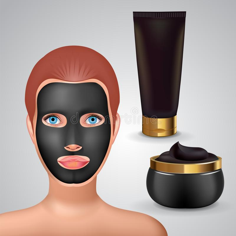 Beauty fashion girl apply facial charcoal black mask. Facial Mask Cosmetics Packaging. Package design for face mask. Cosmetics tube and jar with charcoal creme vector illustration