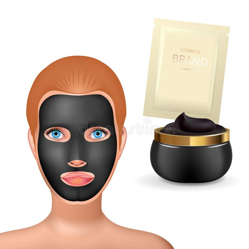 Beauty fashion girl apply facial charcoal black mask. Facial Mask Cosmetics Packaging. Package design for face mask. Ralistic Cosmetics jar and sachet with stock illustration