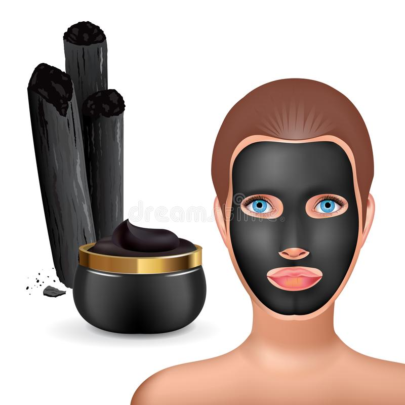 Beauty fashion girl apply facial charcoal black mask. Facial Mask Cosmetics Packaging. Package design for face mask. Ralistic Cosmetics jar and charcoal sticks stock illustration