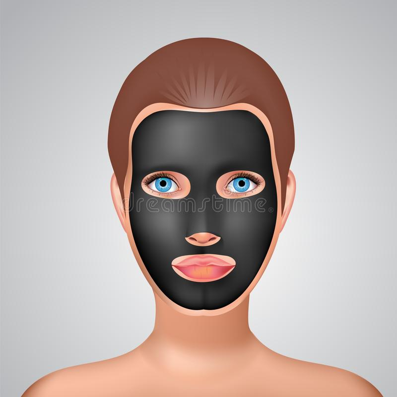 Beauty fashion girl apply facial charcoal black mask. Line style vector illustration. Beauty fashion girl apply facial charcoal black mask. Line style realistic vector illustration