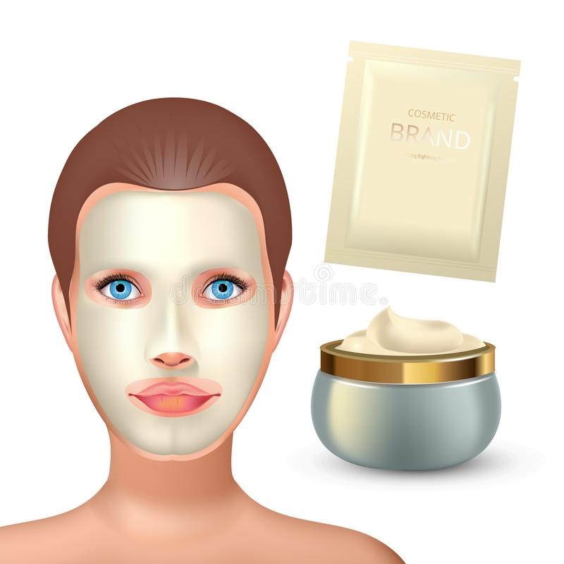 Beauty fashion girl apply facial white mask. Facial Mask Cosmetics Packaging. Package design for face mask. Realistic. Cosmetics sachet and jar with white creme royalty free illustration