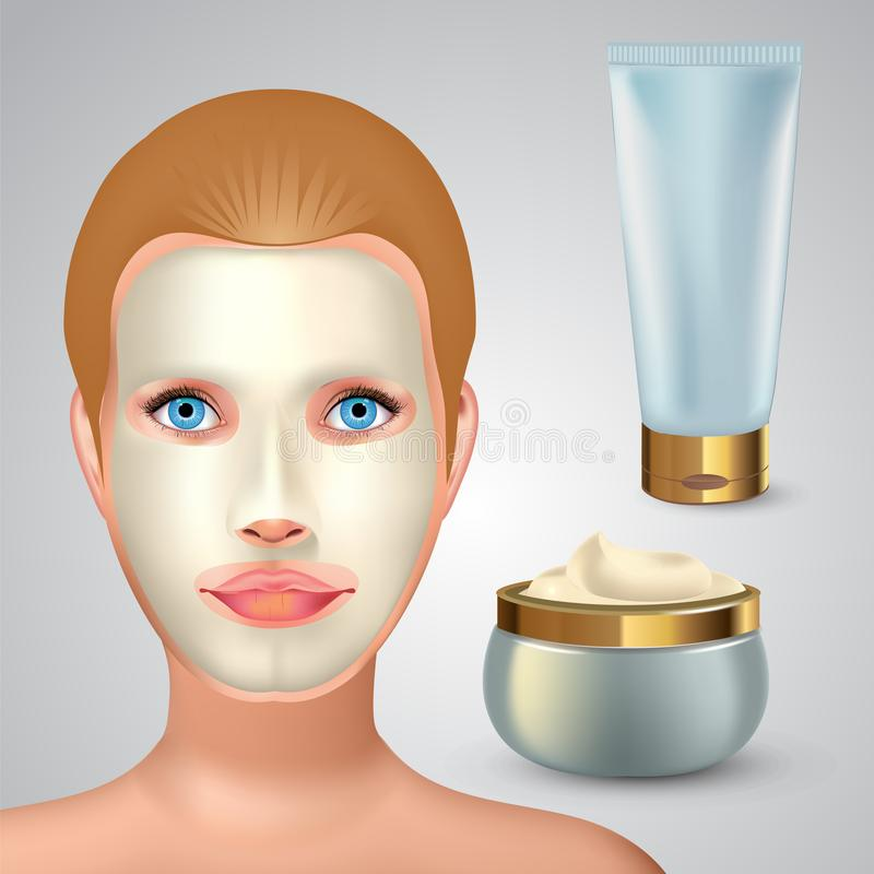 Beauty fashion girl apply facial white mask. Facial Mask Cosmetics Packaging. Package design for face mask. Cosmetics. Tube and jar with white creme. Vector stock illustration