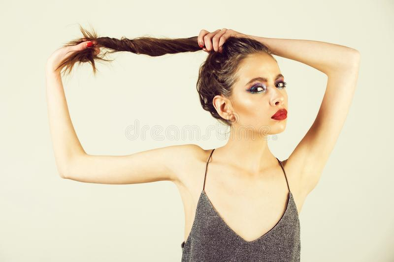 Beauty and fashion, makeup and cosmetics, youth and sexuality, hairdresser stock photos